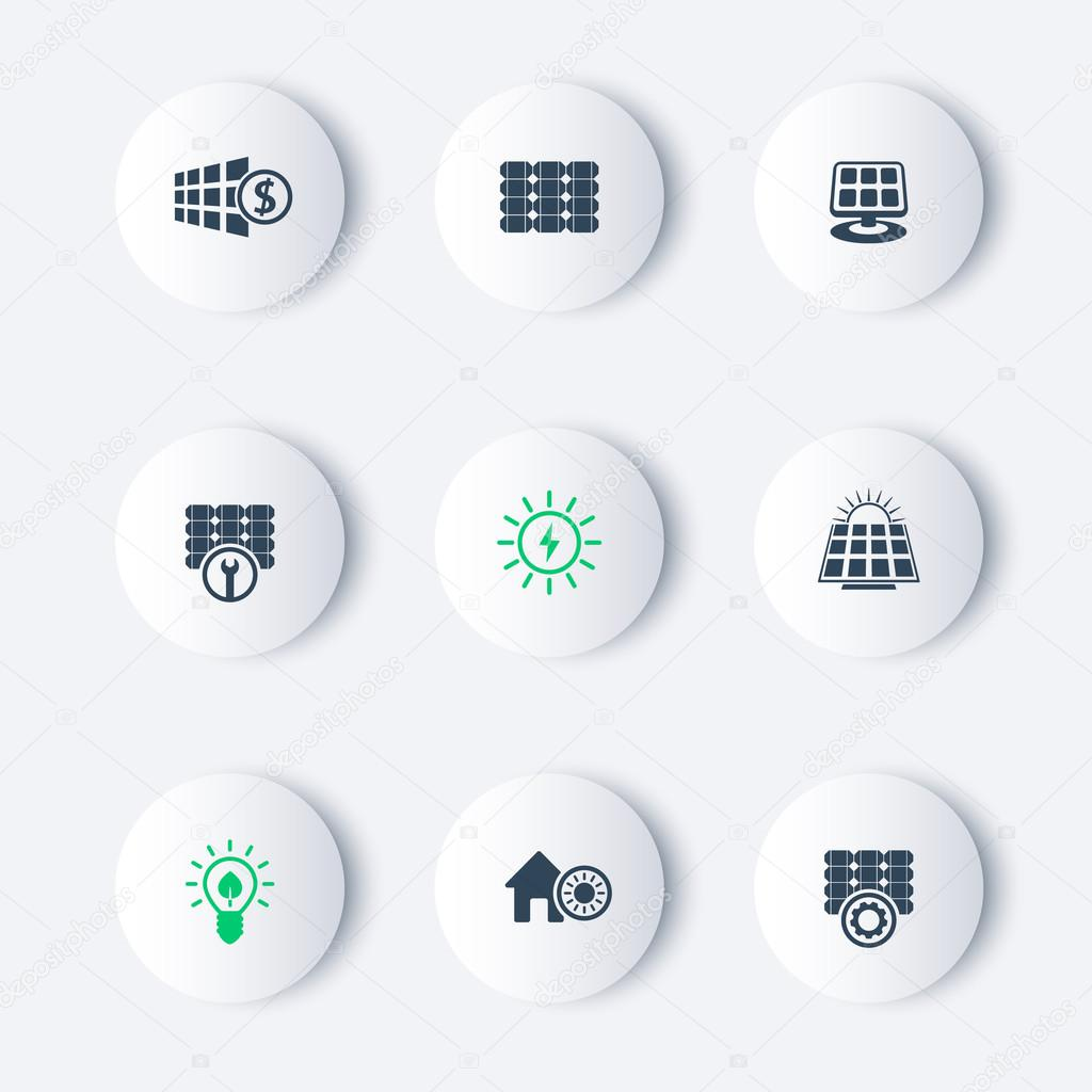 Solar energy, panels, plant round modern icons