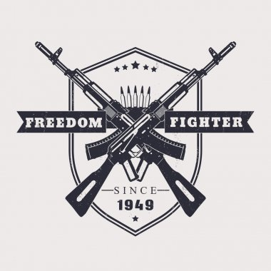 Freedom fighter grunge t-shirt design, with crossed assault rifles