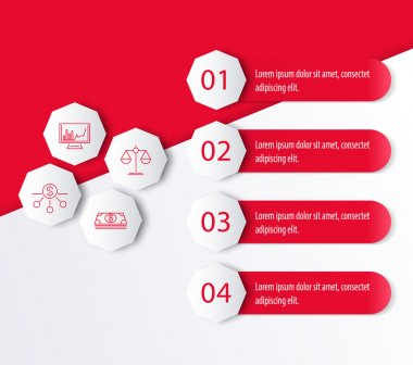 Investment, infographic elements, icons, option, steps labels in red