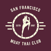 Photo Muay thai club Vintage emblem, logo, badge