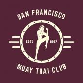 Muay thai club Vintage emblem, logo, badge