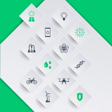 Green ecologic new technologies, icons on square shapes