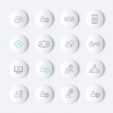 Personnel, Human resources, HR, management, thin line round modern icons