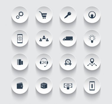 E-commerce, online shopping, payments round icons pack