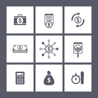 finance, investments, fund square icons