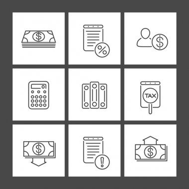 Bookkeeping, finance, line square icons
