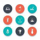 Golf, golf club, auto, golfista, kolem ikony