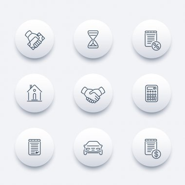 Leasing, banking, loan, lending, line round modern icons