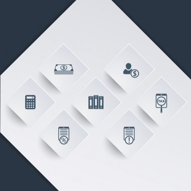 Bookkeeping, finance, payroll icons on square shapes
