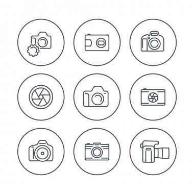 camera, dslr, diaphragm, line icons