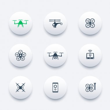 Drone, Copter, Quadrocopter round modern icons