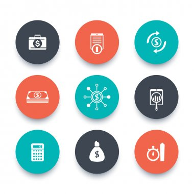 finance, investments, capital round icons