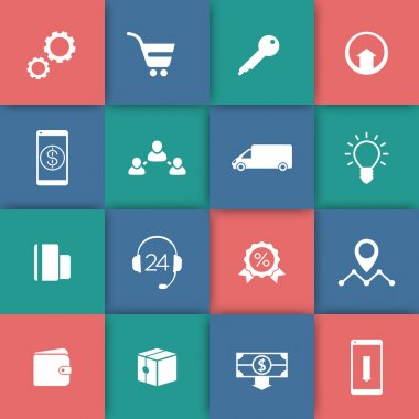 E-commerce, online shopping web icons