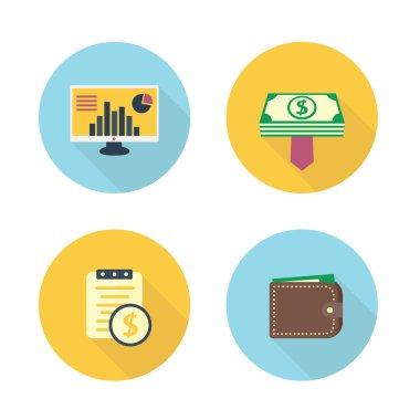 finance, payroll flat icons set