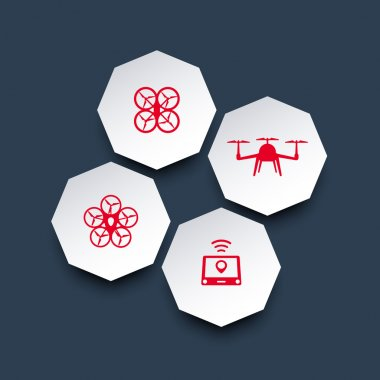 Drones, Tricopter, Multicopter, Quadrocopter octagonal 3d icons in red and white