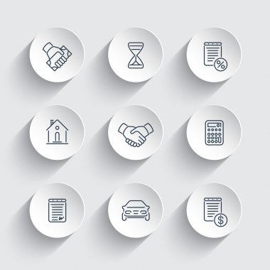 Leasing, banking, loan, line round icons