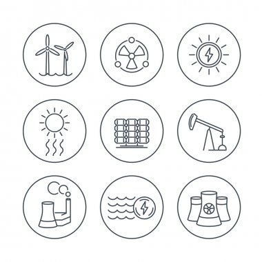 Power, energy production, energetics, electric industry, line icons in circles