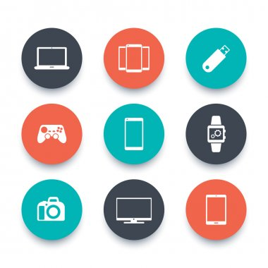 Gadgets, round icons set
