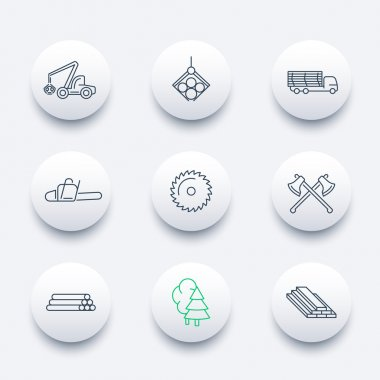 Forestry, Timber, Tree Harvester, Sawmill, Logging line round icons pack
