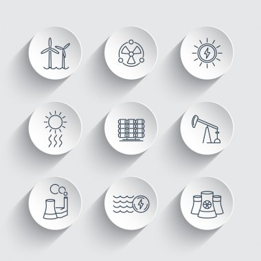 Power, energy production, energetics, solar, nuclear energy, line round icons