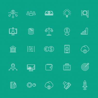 Venture capital, investments, startup, hedge fund, line white icons