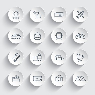 Travel, tourism, trip, vacation, cruise line round icons pack