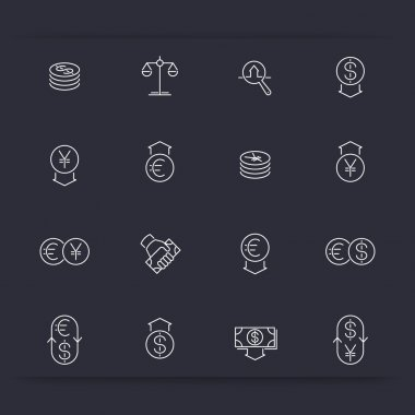 Currency, forex trading, money, investment linear icons