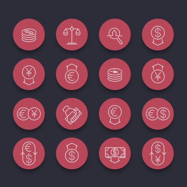 Currency, forex trading, money, investment line round red icons