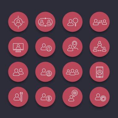 Personnel, Human resources, HR, staff line round red icon