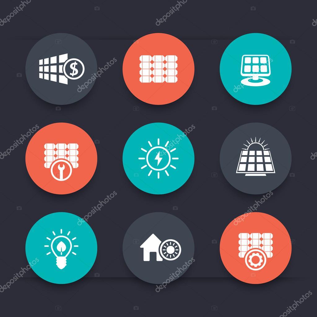 Solar energy, panels, alternative energetics, round icons