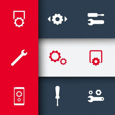 settings, configuration, preferences icons on geometric background