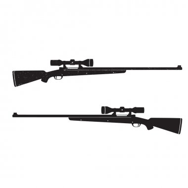 Hunting rifles with Optical Sight, with grunge texture