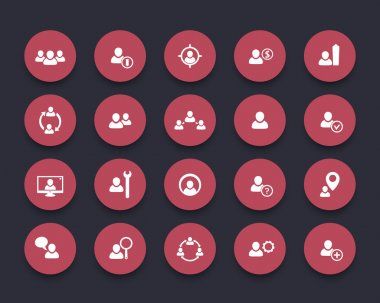 Human resources, hrm, Personnel management, round red icons