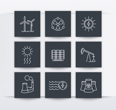 Power, energy production, energetics, electric industry, line square icons