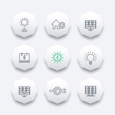 Solar energy, solar panels, plant, line octagon icons