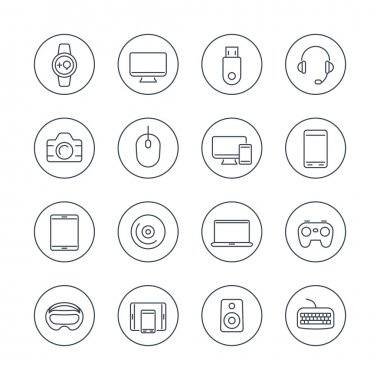 Modern gadgets line icons in circles