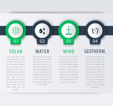 Alternative energy solutions, solar, wind energetics, infographic elements, timeline