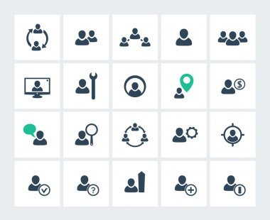 Personnel management, human resources, HR, HRM icons pack