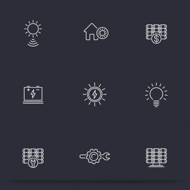 Solar energy, solar power, panels, thin line icons, vector illustration