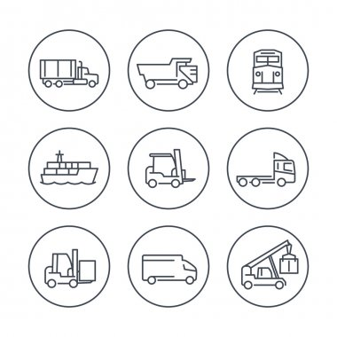 Transportation line icons in circles, Forklift, Cargo ship, Freight train, Cargo truck, vector illustration