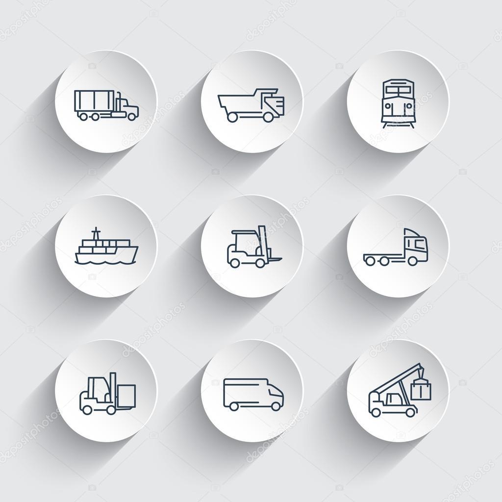 Transport Linie Icons auf runden Formen 3d, Gabelstapler ...