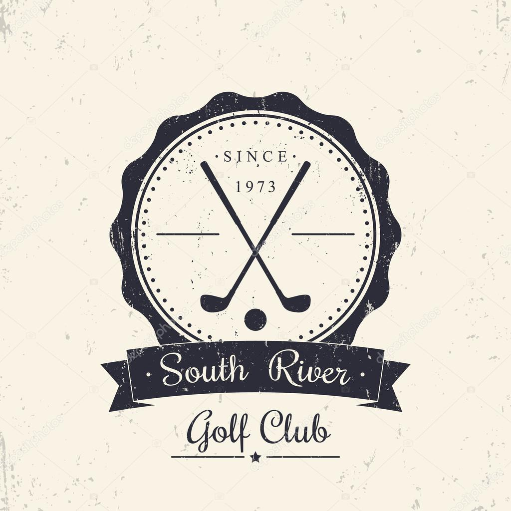 Golf club grunge vintage logo, emblem, with crossed golf clubs ... Golf Clubs Crossed Logo Design on golf t-shirt logo design, baseball skull tattoo design, golf club embroidery design,