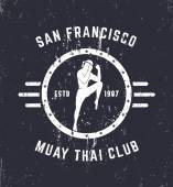 Photo Muay thai club Vintage grunge emblem, logo, sign, vector illustration