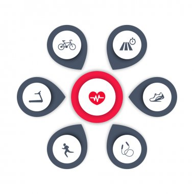 Aspects of cardio training, icons, infographics elements, vector illustration