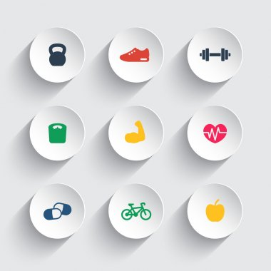 Fitness icons on round 3d shapes, vector illustration