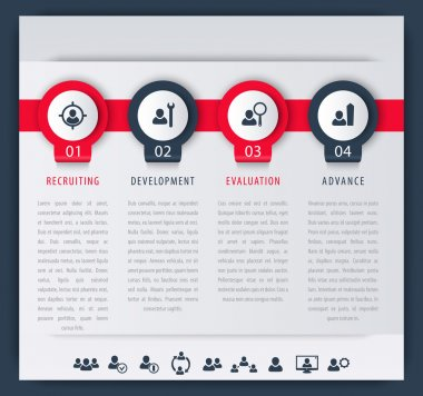 Staff, HR, employee development steps, infographic elements, icons, timeline, vector illustration, eps10, easy to edit