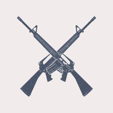 crossed 5.56 mm assault rifles, automatic firearm, guns, vector illustration