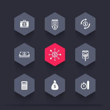 finance, investments, capital hexagon icons, vector illustration