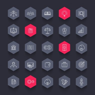 Venture capital, investments, startup, hedge fund, line hexagon icons pack, vector illustration