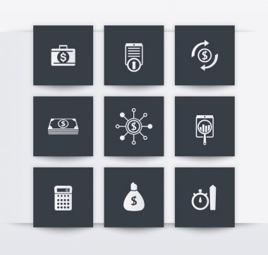 finance, investments square icons, vector illustration